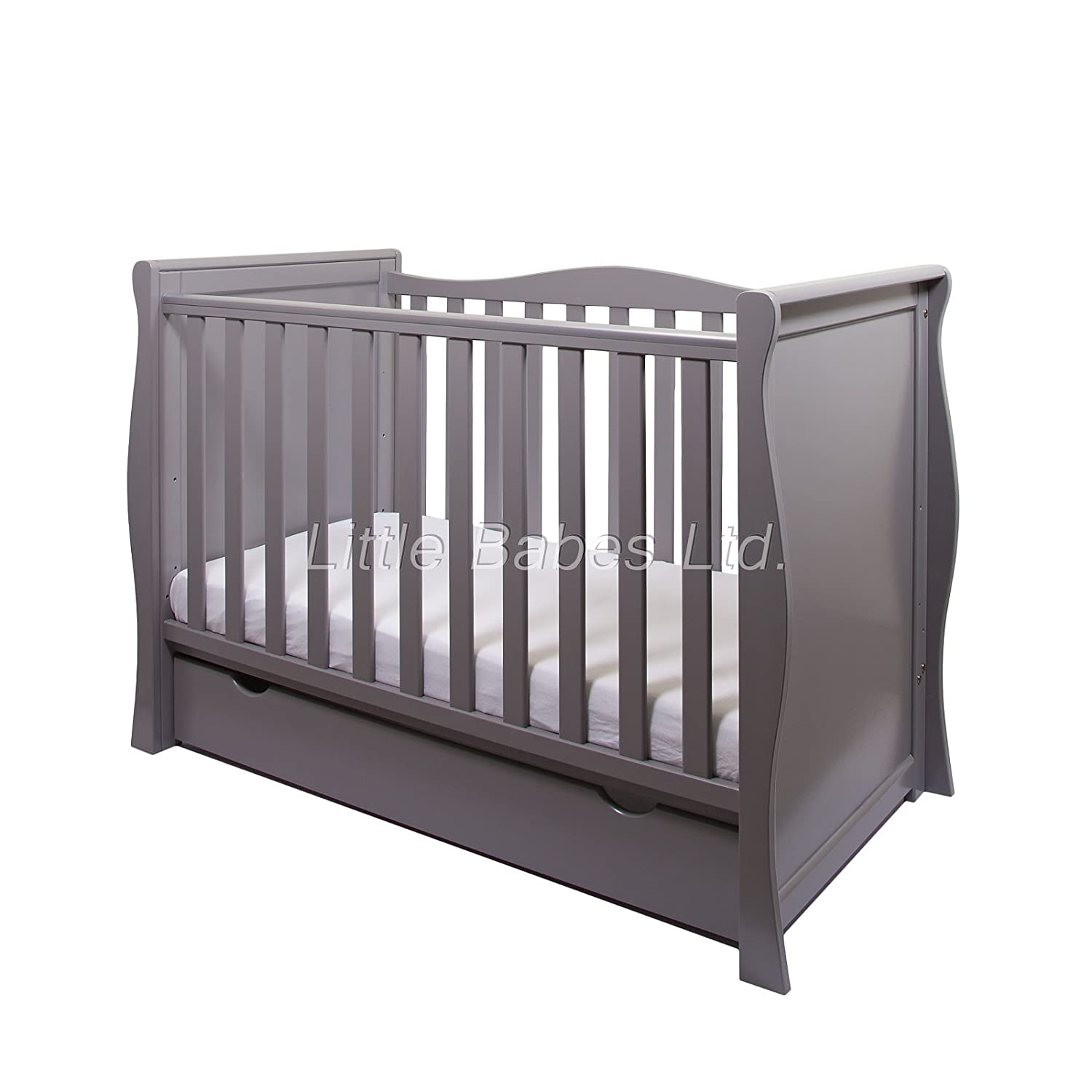 NEW PINEWOOD GREY SLEIGH MINI COT BED & DRAWER ONLY LITTLE BABES LTD grey sleigh mini cot bed only