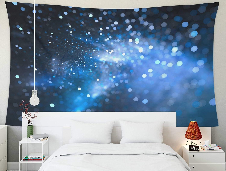 Tapiz para colgar en la pared, decoración de arte para el hogar, estrellas de nebulosa que brillan intensamente azules en el campo Bokeh, representación de fondo abstracto generado por computadora con
