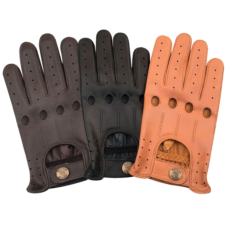 Classique pour Homme en Cuir Nappa de vachette v/éritable Conduite robe fashion gants de moto Noir Marron e-grey 507