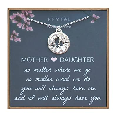 EFYTAL Mothers Day Mom Gifts 925 Sterling Silver Mommy Baby Bird Necklace For Mother