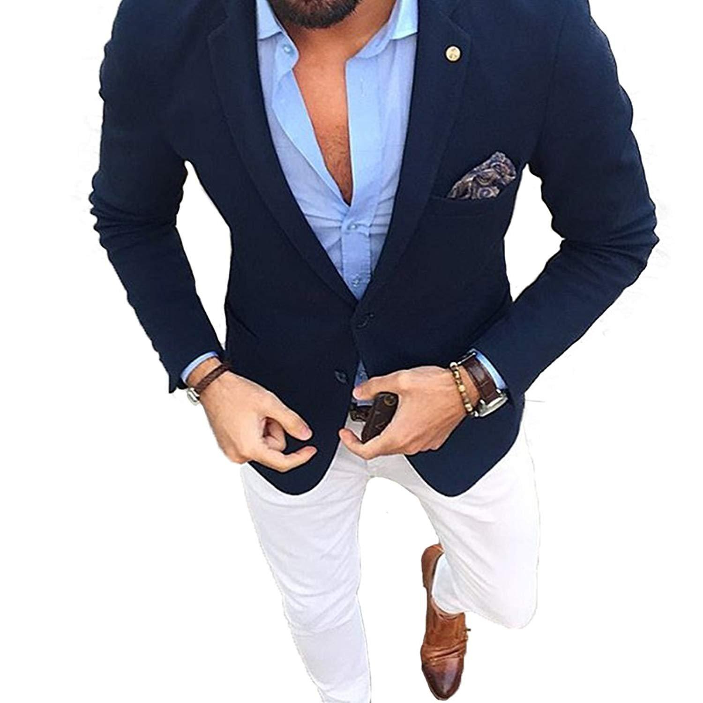 JYDress Men's Suit Two Piece Business Suits for Men Slim Fit Wedding Suit