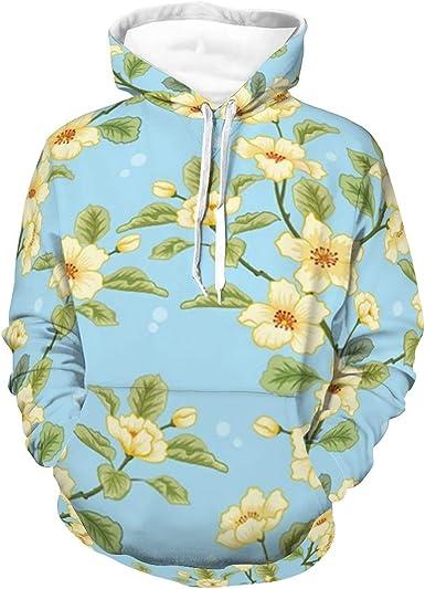 Sudaderas para hombres mujeres flores amarillas azul sudadera ...