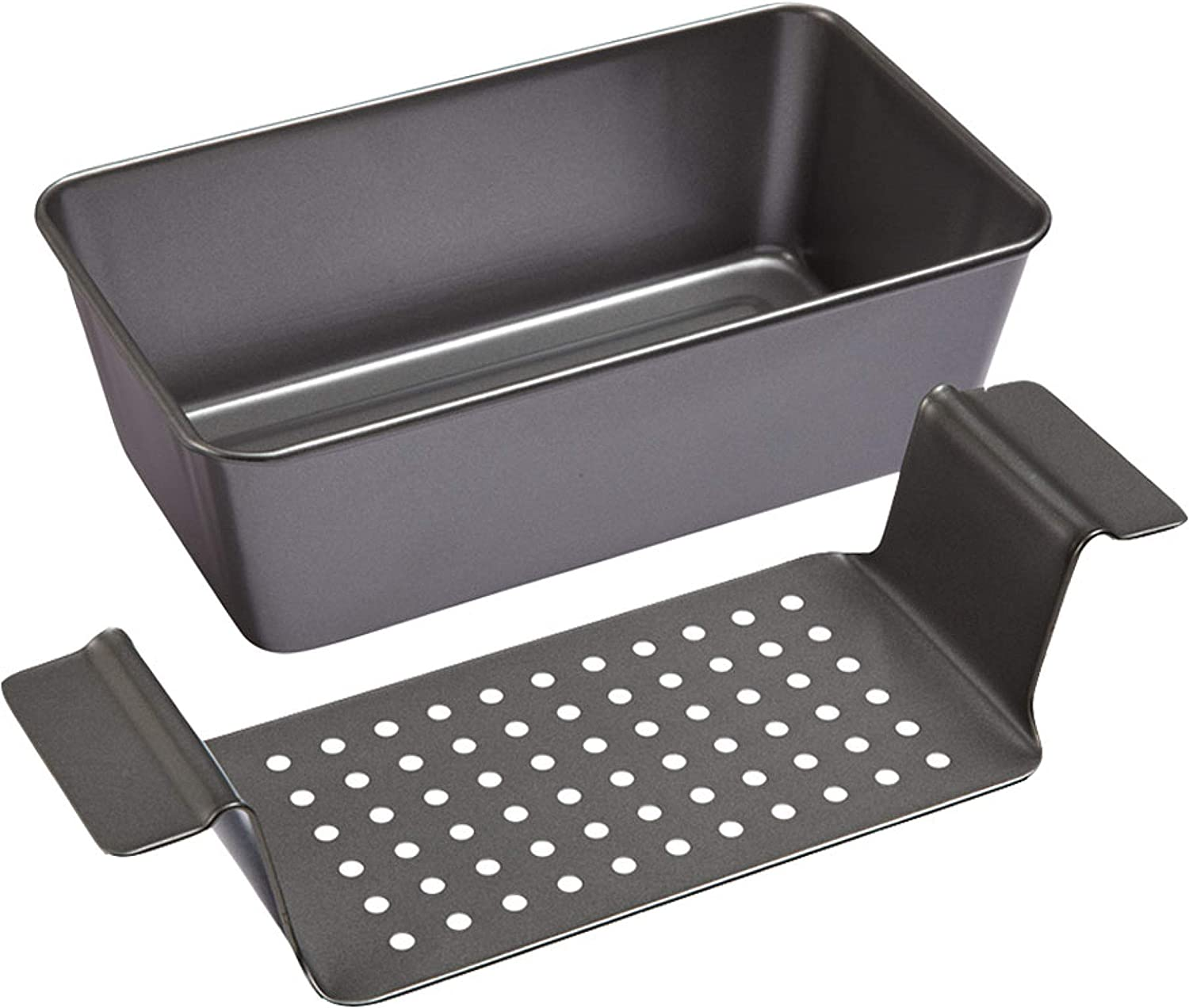 Chicago Metallic Professional Healthy Meatloaf Pan, 2-Piece Set, Gray