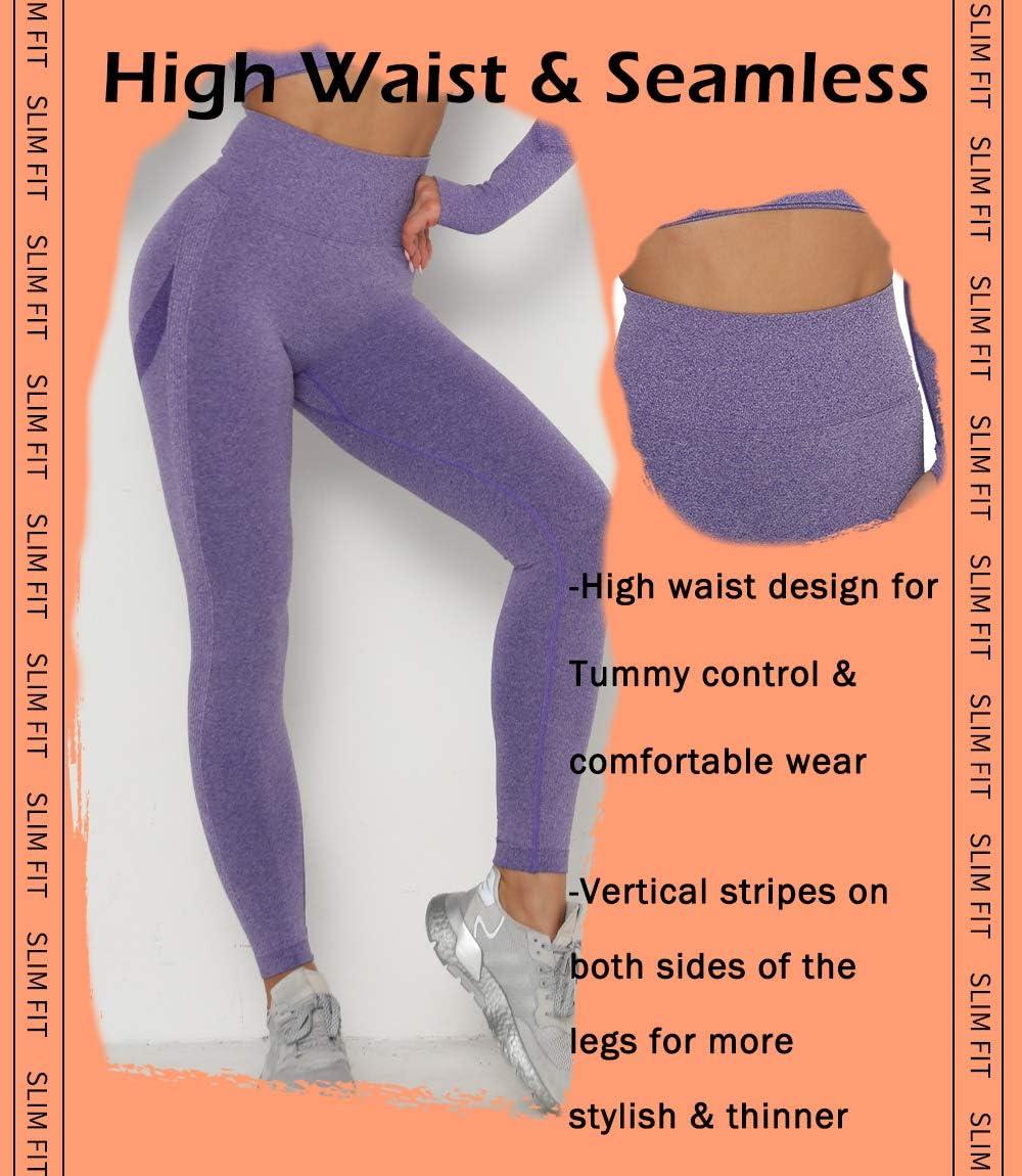 KIWI RATA Leggings de Sport Femme Pantalon Compression Taille Haute Yoga Push Up Anti Cellulite Slim Pants Top sans Couture Multicolore pour Gym Running Jogging Fitness Pilates