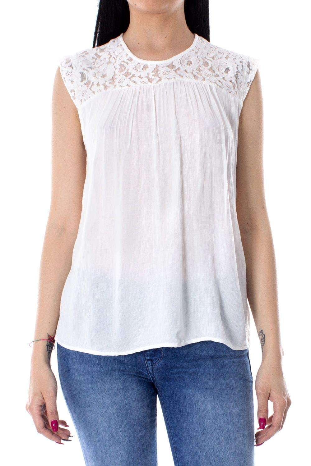Only Women's 15157657WHITE White Viscose Tank Top