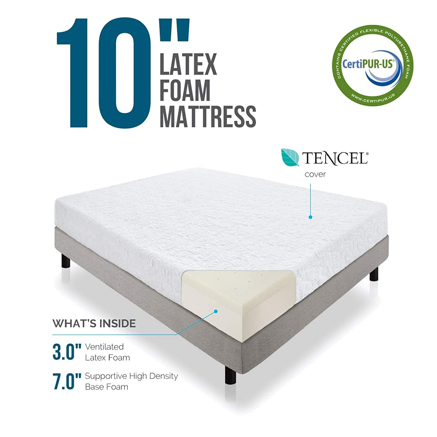 LUCID 10 Inch Latex Foam Mattress - Ventilated Design - CertiPUR-US Certified Foam - 10 Year Warranty - Twin with LUCID Encasement Mattress Protector ...