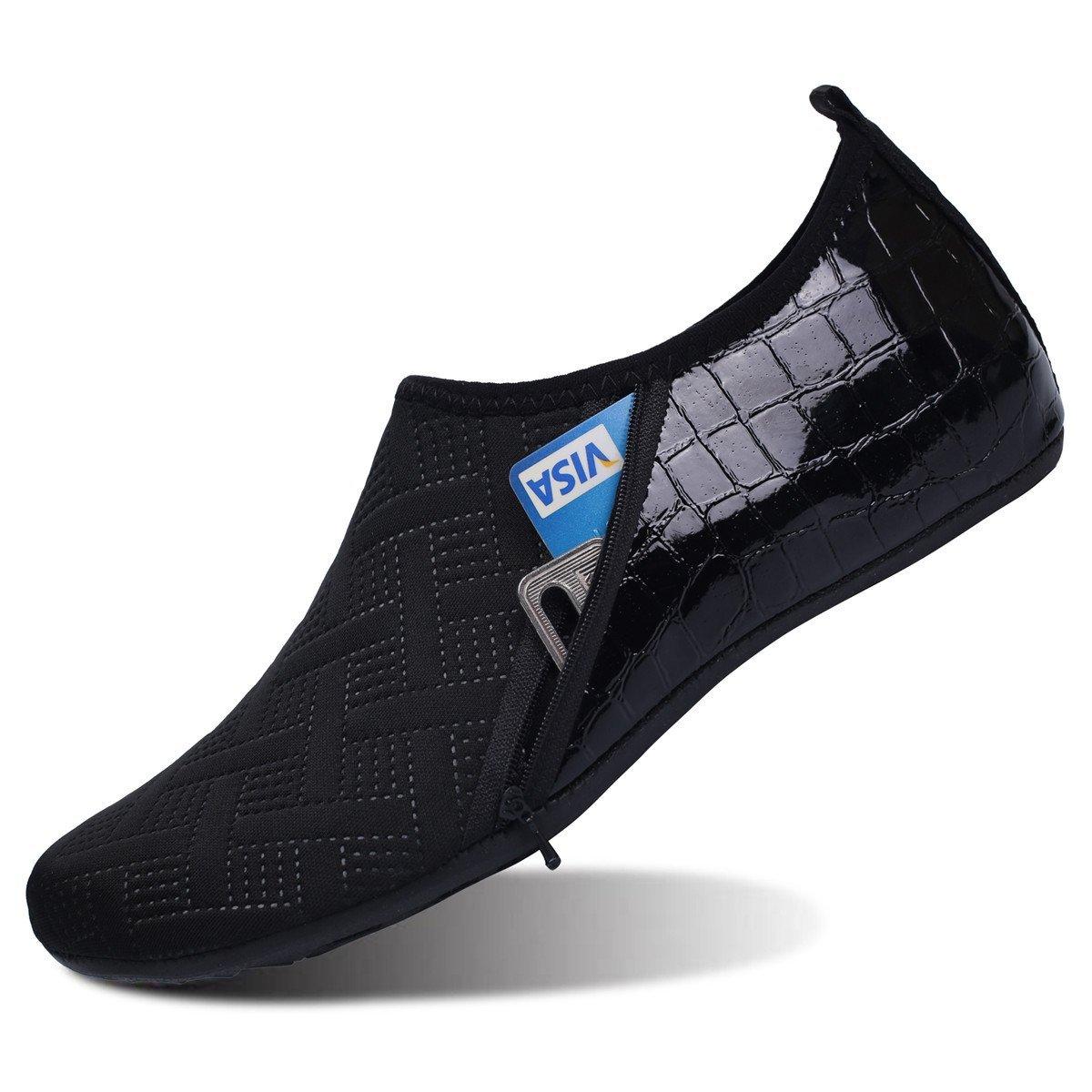 JIASUQI Womens Casual Barefoot Water Shoes for Beach Pool Surf Zip Black US 9.5-10.5 Women, 8.5-9 Men