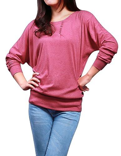 Allegra K Mujer Cuello Barco Manga Murciélago Jersey Ajustado Informal Suéter