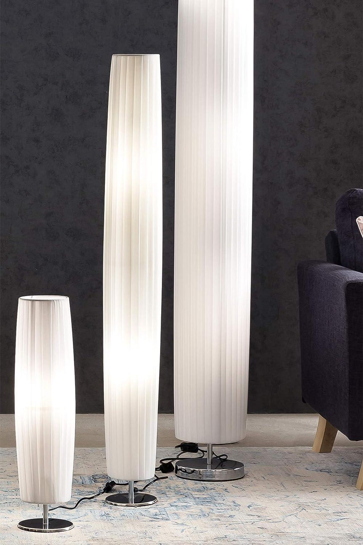 Steh Lampe Weiss Mit Verchromten Standfuss Hohe 120 Cm Rund Sirap
