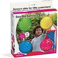 Edushape See-Me Sensory Balls, 4 Inch, Translucent, 4 Ball Set