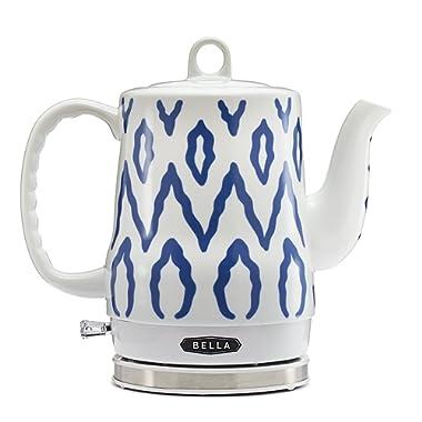 BELLA (13724) 1.2 Liter Electric Ceramic Tea Kettle with Detachable Base & Boil Dry Protection, Blue Aztec