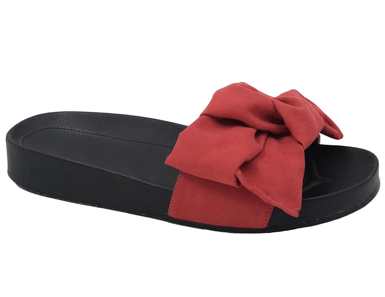Max Muxun Damen Sandalen Schleife Flip Flops EU Rot Thong Pantoletten  41 EU Rot Flops 60b1ef