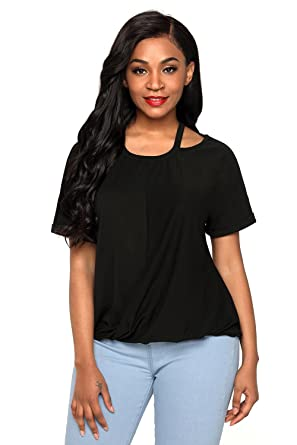 afd47542ccdf20 Bdcoco Women s Cold Shoulder Knotted Short Sleeve Shirt Casual Blouse Tops  Black ...
