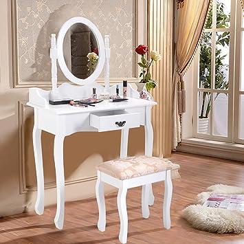 Blitzzauber24 Coiffeuse Tabouret Table De Maquillage Miroir Tiroir Stockage  Chambre En Bois Blanc