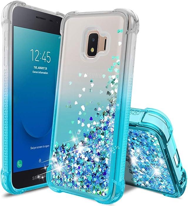 Tmacker Samsung Galaxy J2 Case 2019,Galaxy J2 Core/J2 Pure/J2 Dash Phone Case,Slim TPU Glitter Quicksand Four Corner Shockproof Protective Phone Cover for Girls Women-Teal
