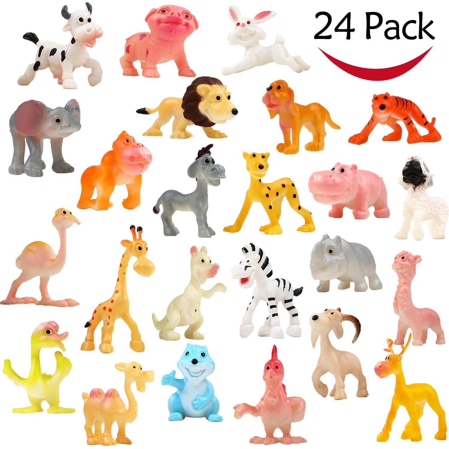 Cartoon Animal, 24 Pack Mini Plastic Wild Animals Models Toys Kit, Funcorn Toys Jungle Animal Figures Set for Children Boys and Girls Kids Party Favors Classrooms Rewards Birthday Gift Educational Toy