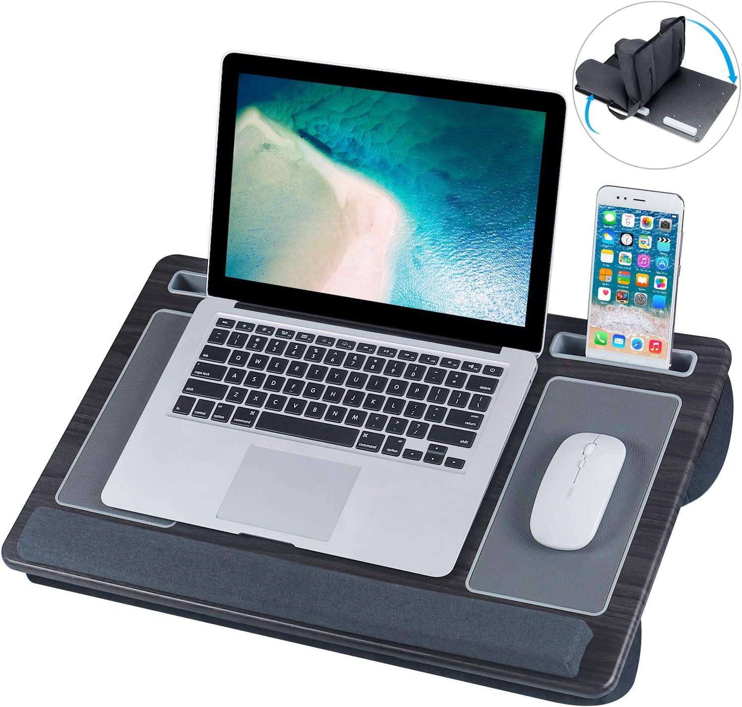 Lap Desk, NEARPOW Laptop Lap Desks for Adults with Removable Pillow Cushion Cover, Right Left Mouse Pad and Wrist Pad, Fits up to 17 inch,Laptop Stand with Tablet Phone Holder for Bed Sofa Couch Floor