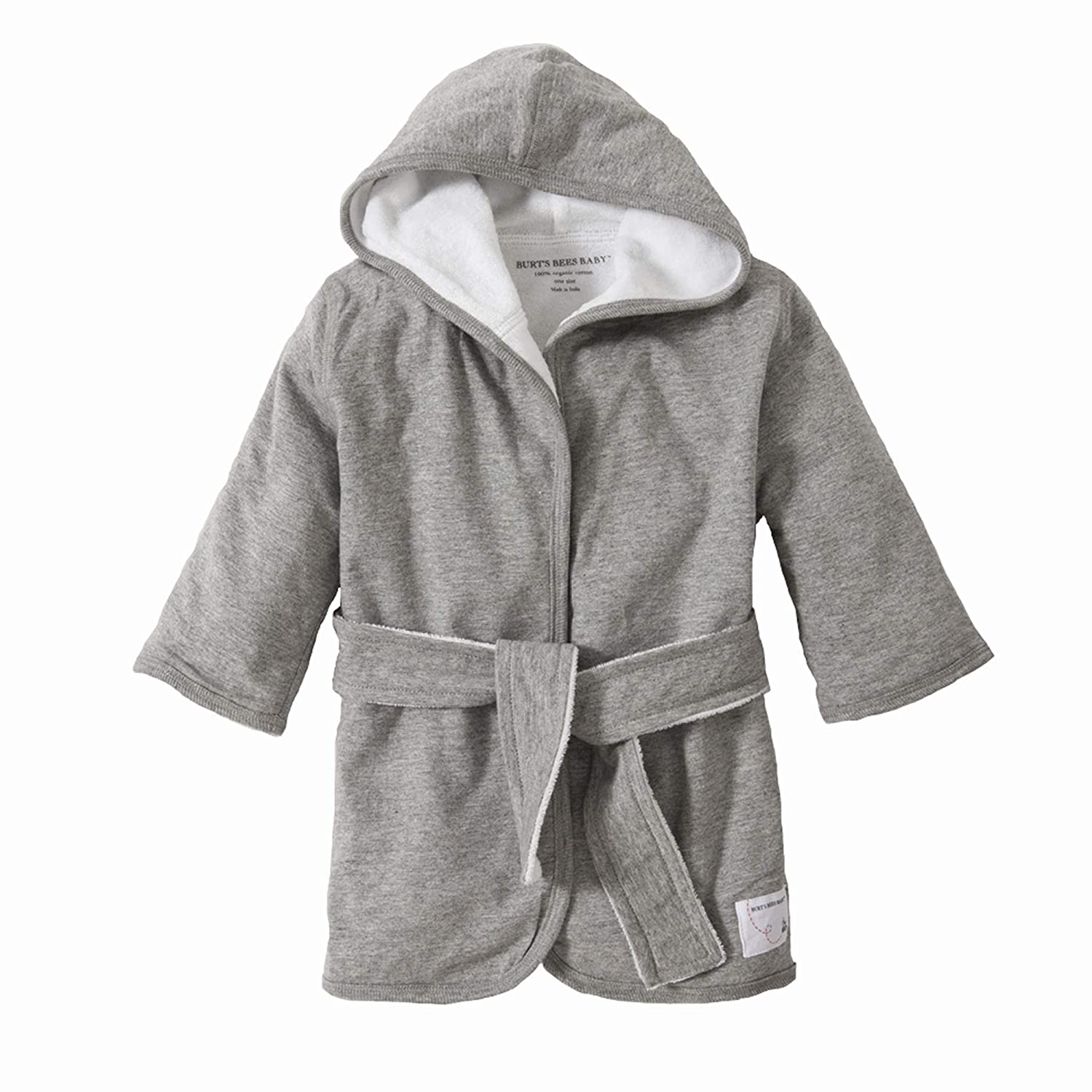 Burt's Bees Baby - Bathrobe, Infant Hooded Robe, Absorbent Knit Terry, 100% Organic Cotton, 0-9 Months (Heather Grey): Baby