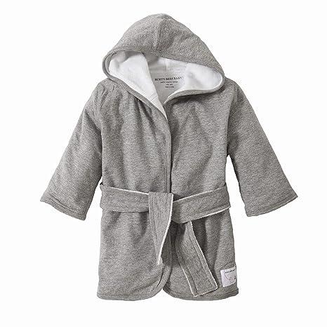 Orgánicos de punto tejido de rizo con capucha bebé bata jaspeado gris Talla:9 meses