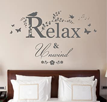 Relax And Unwind, Vinyl Wall Art Sticker Decal Mural, Bathroom, Bedroom,  Lounge