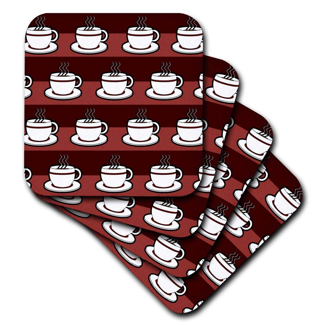 3dRose CST/_58654/_3 Coffee Lover Gift Coffee Cups Print Red Ceramic Tile Coasters Set of 4