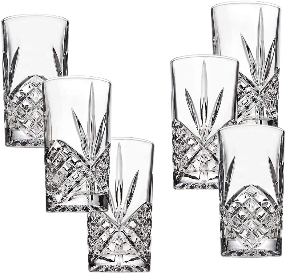 Highball Glasses Set of 6, 12 Ounce Cups, Textured Designer Glassware for Drinking Water, Beer, or Soda, Trendy and Elegant Dishware, Dishwasher Safe