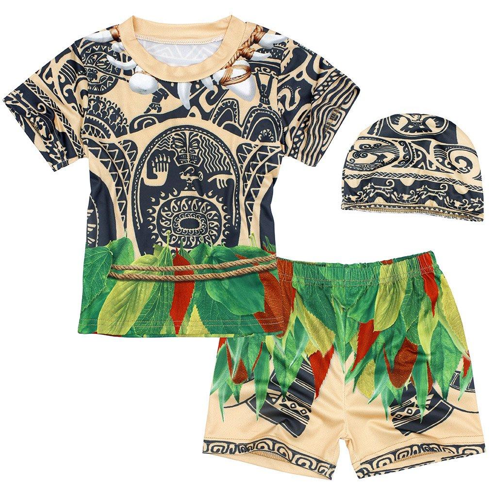 AmzBarley 3pcs Boys Maui Swimming Costume Swimwear Swimsuit Beach Wear Top + Swimming Shorts Trunks with Cap