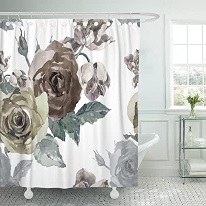 Emvency Fabric Shower Curtain Curtains With Hooks Botanical Grey Brown And Khaki Roses Tulips Watercolor