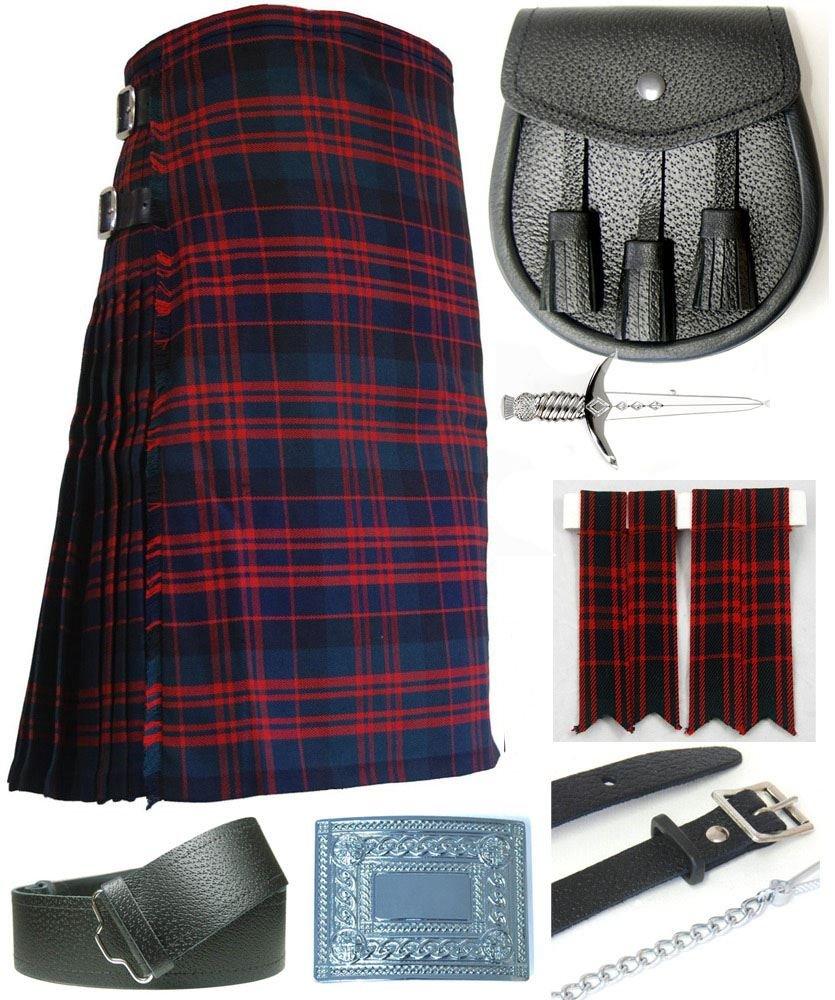 Mens Macdonald Modern Tartan 7 Piece Casual Kilt Outfit Size: 46'' - 48''