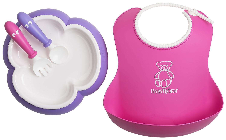 BabyBjorn Baby Feeding Set, Pink Soft Bib, Purple Plate and Spoon and Pink Fork, Pink, Purple BabyBjörn 078046US