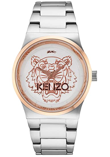 Kenzo Tiger Head Unisex Silver Stainless Steel Watch 9600206
