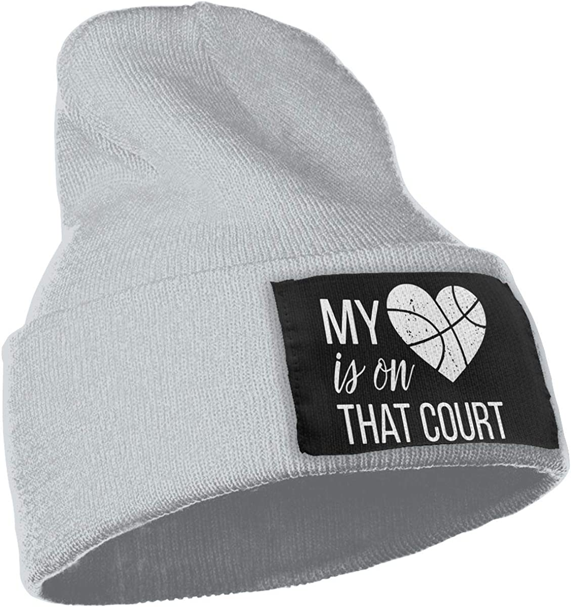 My Heart is On That Court Basketball Cute Beanie Hat Mens and Womens 100/% Acrylic Knitting Hat Cap