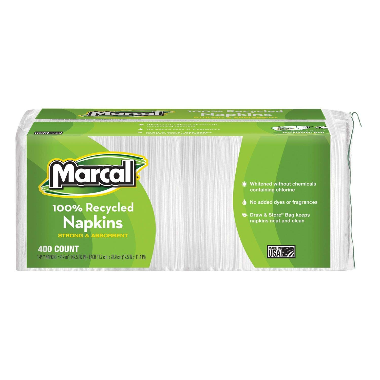 Marcal 100% Premium Recycled Luncheon Napkins - 6 pkgs./400 ct. each - 2,400 ct. total - 1 x 6 PACK