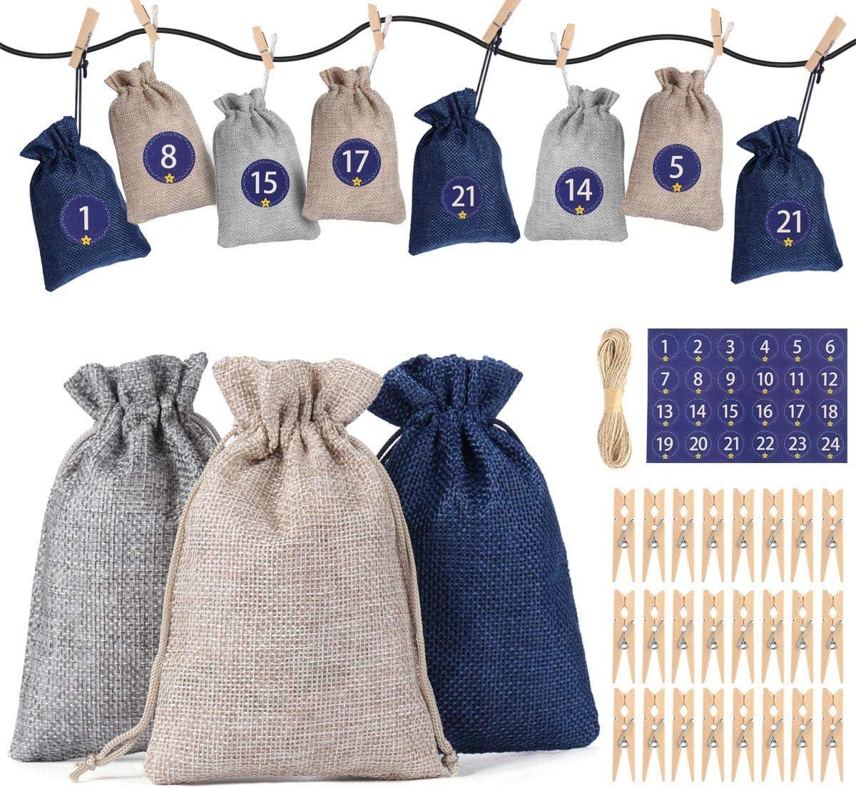 Huker Calendario de Adviento para Llenar, Bolsas de Regalo Navidad con 1-24 Adviento Pegatinas, DIY Saquitos de Navidad, Bolsas de Yute, Bolsas de Calendario de Cuenta Regresiva de Navidad 2020