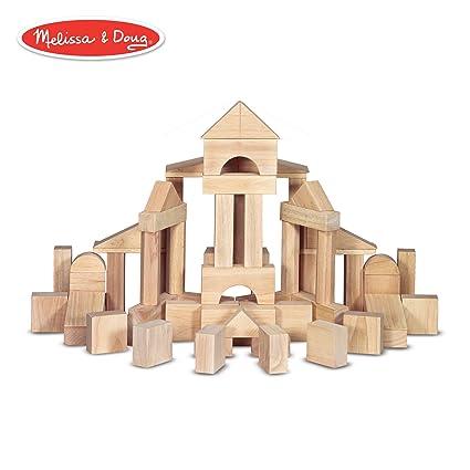03c325dc6 Amazon.com  Melissa   Doug Standard Unit Solid-Wood Building Blocks with  Wooden Storage Crate (Developmental Toy