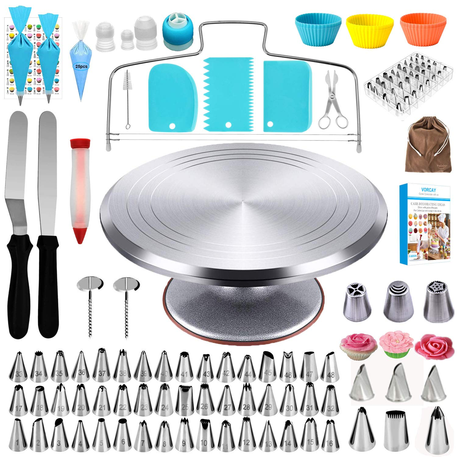 Perfet for DIY Baking Cake Decorating,Acrylic Swivel Lazy Susan Square QBOSO Rotating Cookie Stand Cupcake Decorating Turntable