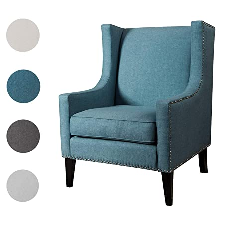 Cool Top Space Sofa Accent Chair Modern Upholstered Mid Century Single Sofa Rivet Style Comfy Arm Chair For Bedroom Club Office 1 Pcs Blue Ibusinesslaw Wood Chair Design Ideas Ibusinesslaworg