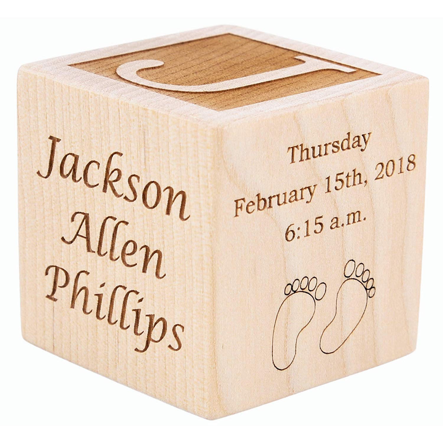 "Personalized Wood Baby Birth Block, Choose from 3 Sizes, New Baby Gifts, Baby Boy, Baby Girl, Newborn Gifts (2"")"