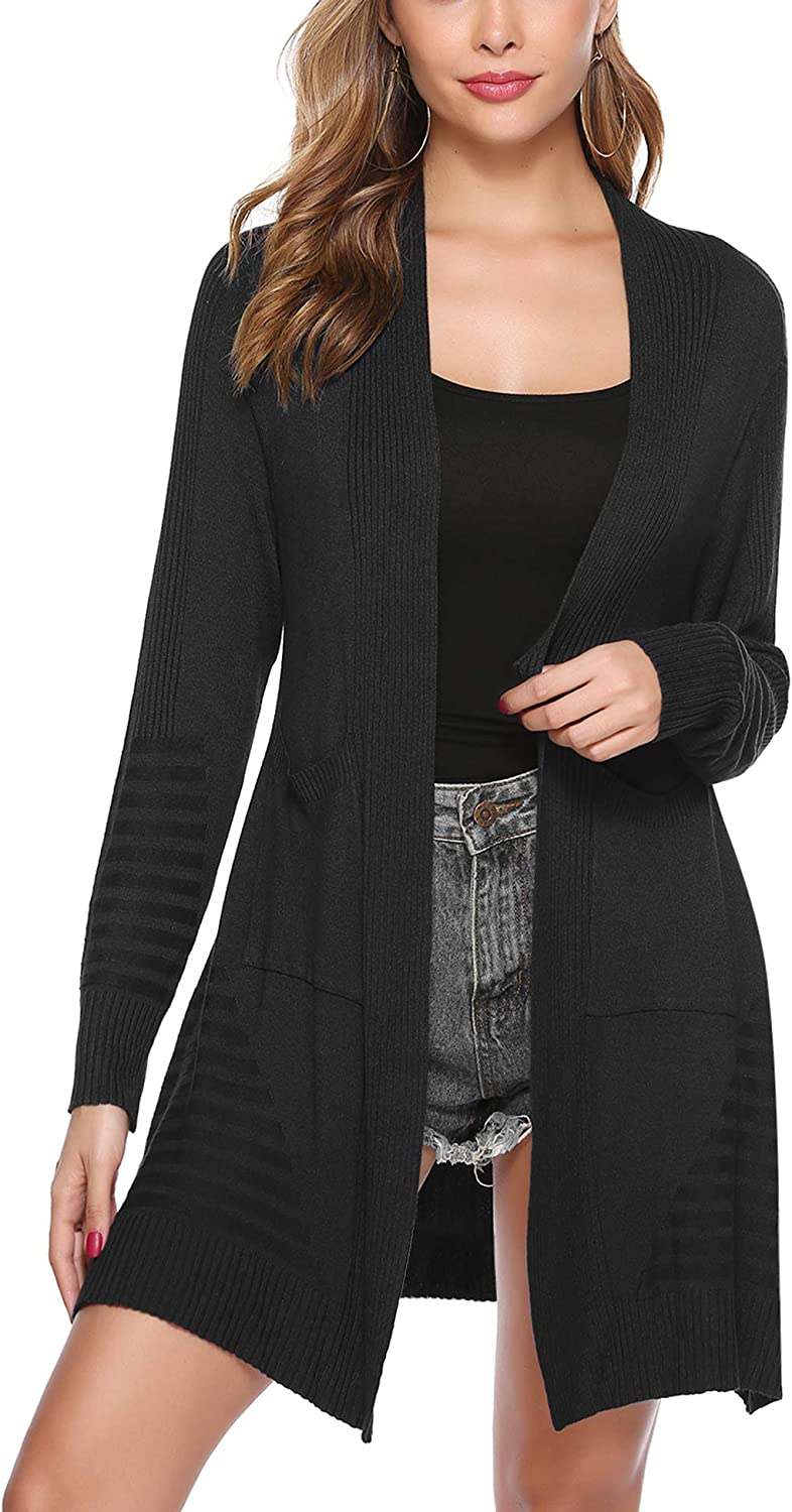 iClosam Womens Thick Long Sleeve Open Front Cardigan Knit Sweater with Pockets