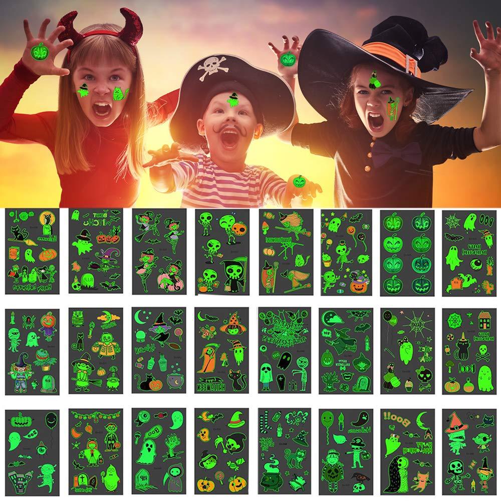 Spiderwebs as Party Favors Supplies Pumpkins Art 24pcs Glow Halloween Temporary Tattoos Stickers for Kids Body Art False Tattoo Happy Halloween Decorations Set Skulls Skeleton Owl Spider /& Bats Ghosts
