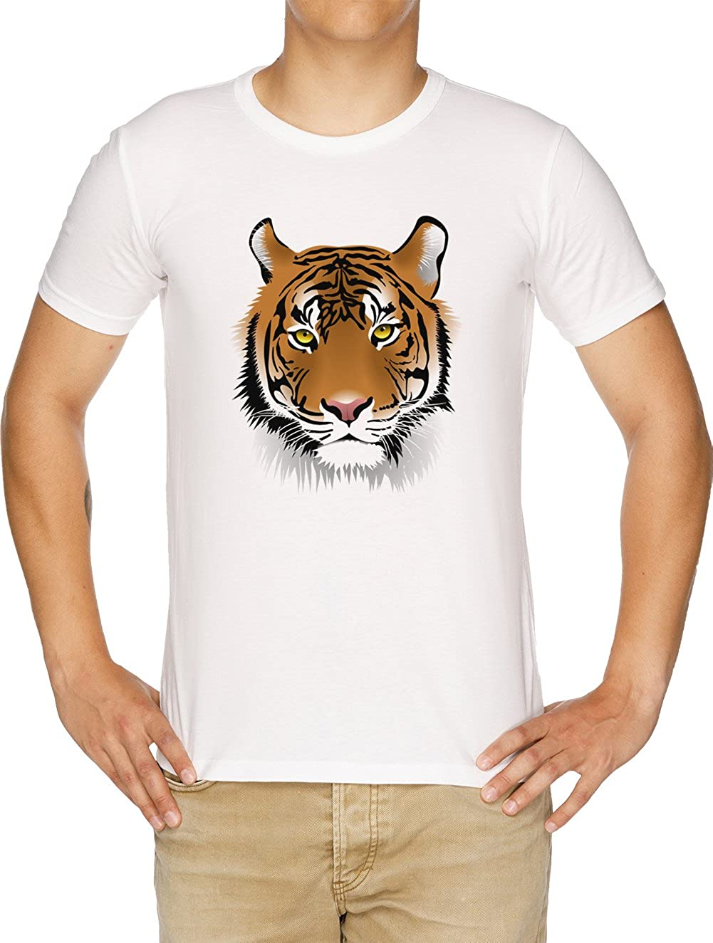 Tigre Cara Camiseta Hombre Blanco: Amazon.es: Ropa