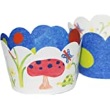 Garden Theme Cupcake Wrappers, Bugs and Butterflies Watercolor, Art Party Supplies, 36 Decorative Wraps, Confetti Couture