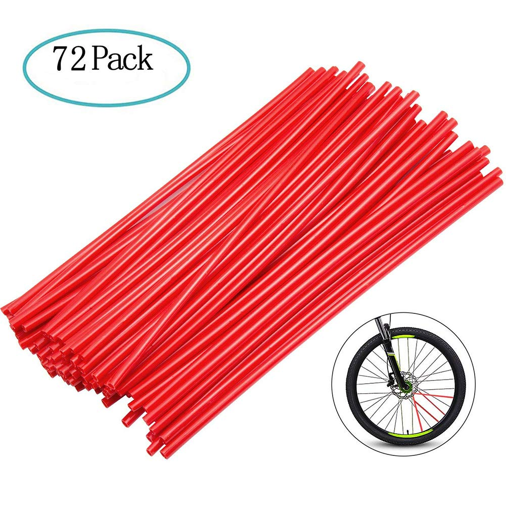 Motorcycle Bike Wheel Tubes, Dirt Bike Wheel Protector Spoke Wraps Rims Skin Cover 72pcs Wuudi