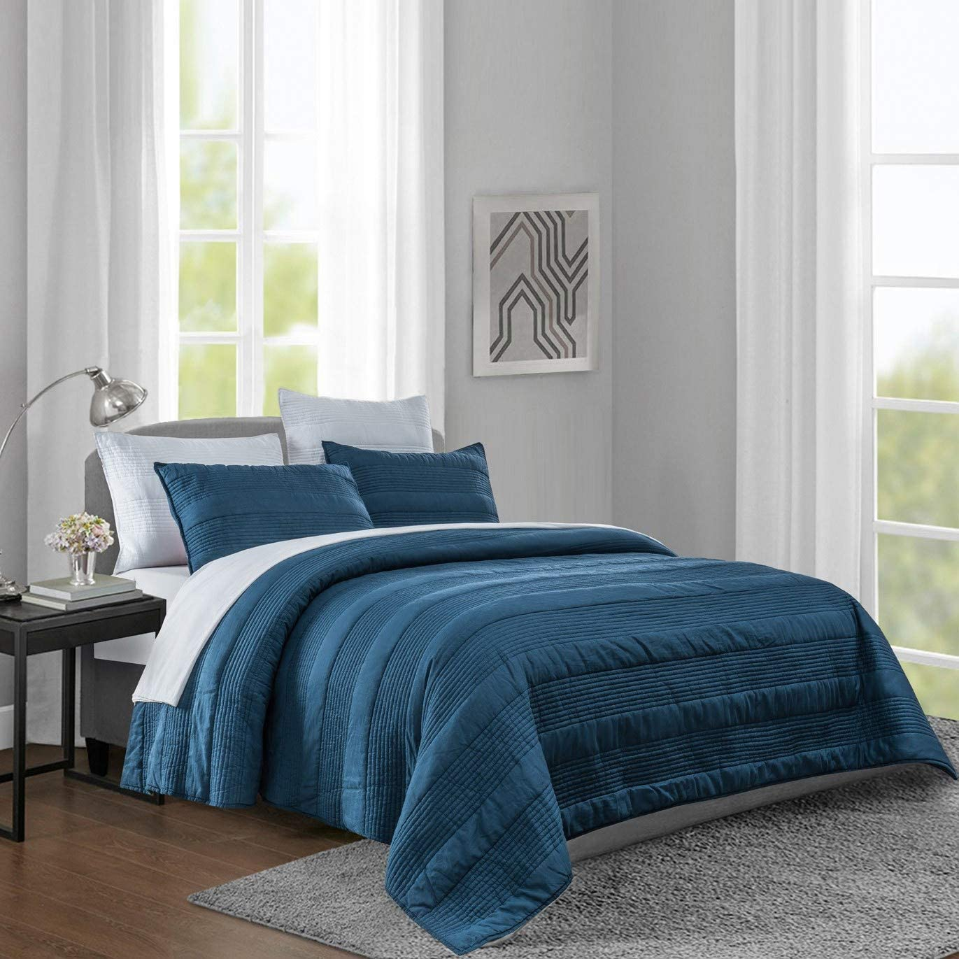 SHALALA Quilt Set Full/Queen-3 Pieces Reversible Washed Bedspread Coverlet Bedding Set,Striped Stitching Cozy & Breathable Bedspread for All Seasons(Rainstom Blue , Full/Queen)