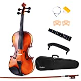 Ohuhu Full Size 4/4 Natural Violin Fiddle with Violin Case, Bow, Rosin and Bridge – Student Violin Starter Kit