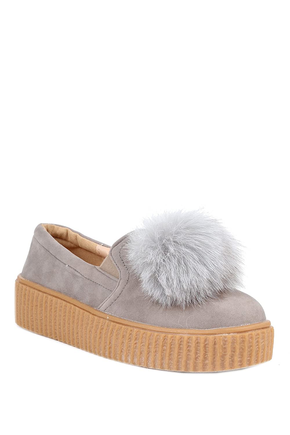 ae493ef03 Amazon.com | Hadari Women's Faux Fur Pom Slip On Sneakers | Fashion Sneakers