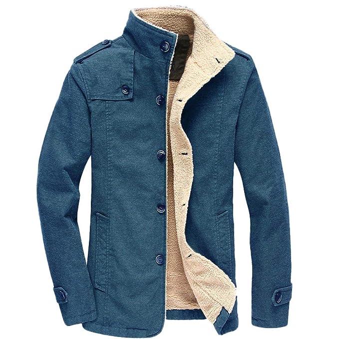 Bestow Hombres Otoño Invierno Casual Manga Larga Chaqueta de algodón de Cordero sólido Top Blusa Abrigo
