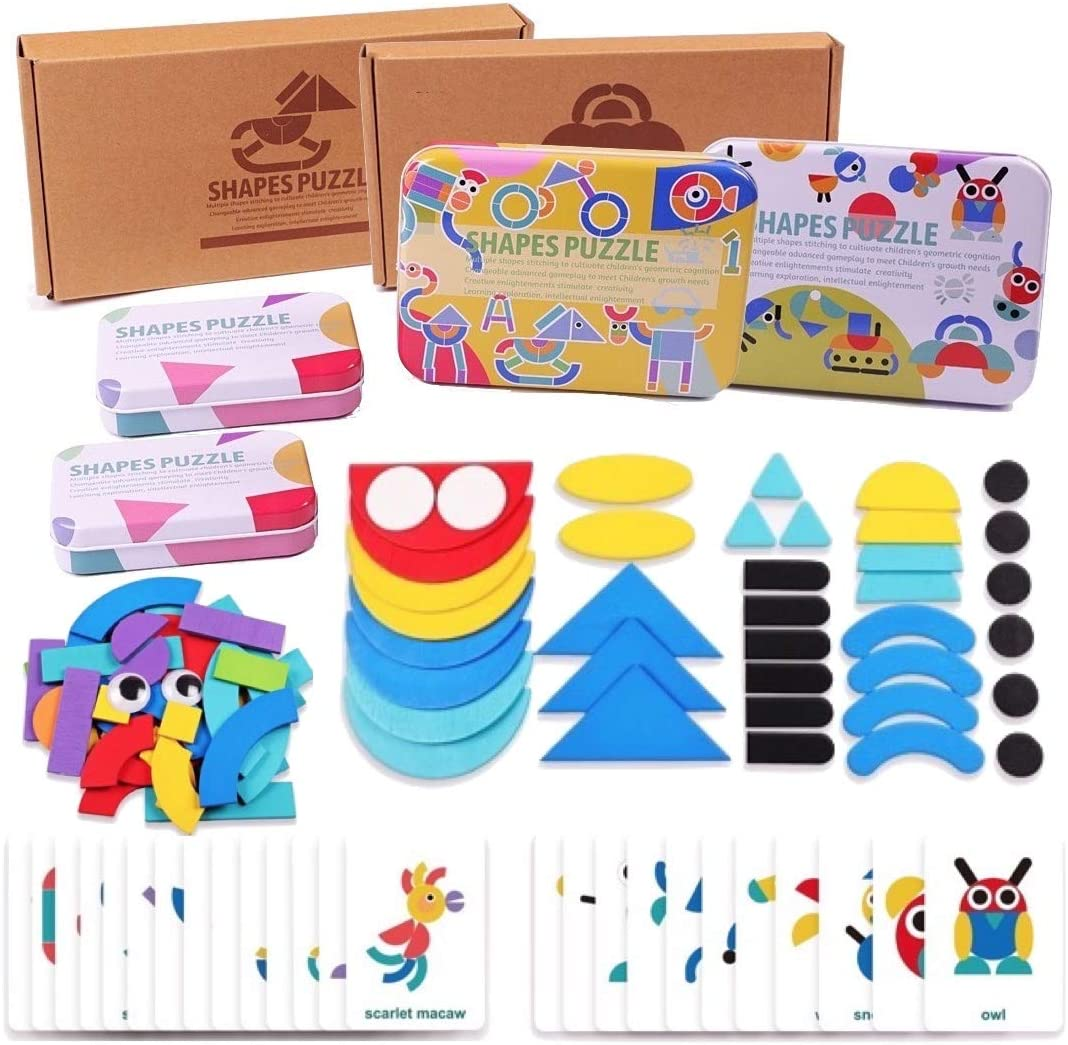 Halizones - Wooden Pattern Blocks Tangram Shape Puzzle Set Animals Plants Vehicles Devices Tools Foods Jigsaw Puzzle Sorting and Stacking Game for Toddlers of Age 3 and Age 4 Geometric Shapes Puzzle