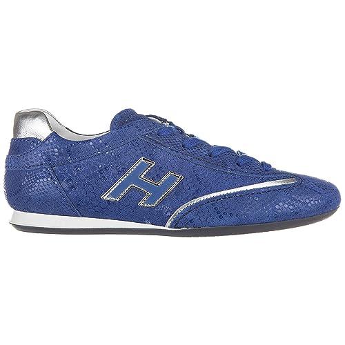Hogan Scarpe Sneakers Donna in Pelle Nuove Olympia h Flock Blu EU 37.5  HXW05201687BYC0BA5  Amazon.it  Scarpe e borse e968ae2e3ed