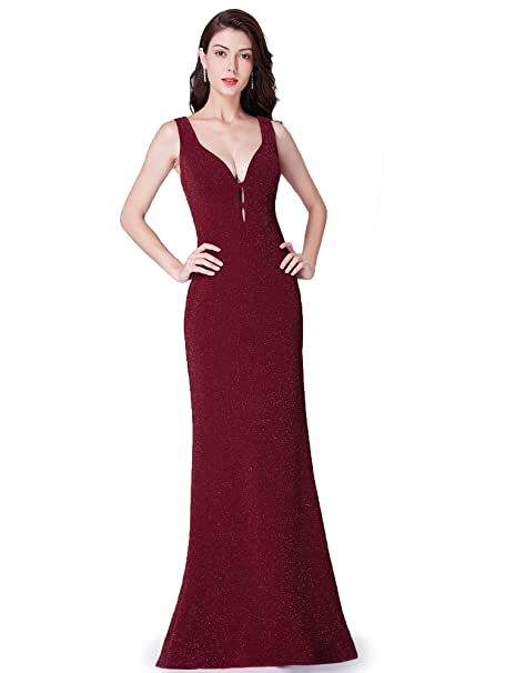 7b4f915fb1 Ever Pretty Women s Double V Neck Floor Length Mermaid Prom Dresses  Burgandy 8UK